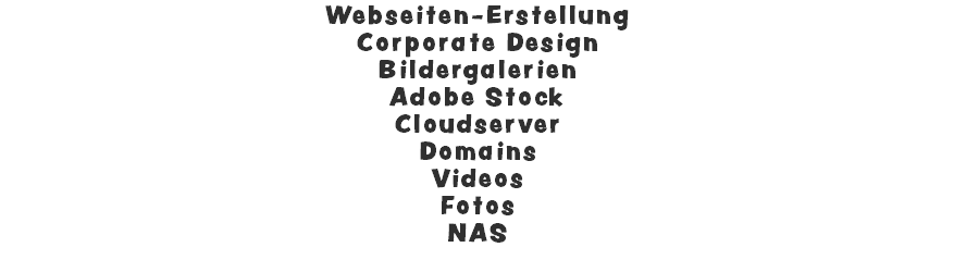 Webseiten-Erstellung Corporate Design Bildergalerien Adobe Stock Cloudserver Domains Videos Fotos NAS
